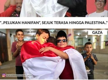 Bahkan pelukannya kedamaian Jokowi-Prabowo bisa sampai ke anak-anak di Gaza lho. Adem ya lihatnya. (Foto: Instagram/muhammadhusein_gaza)