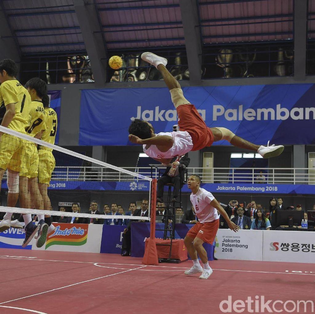 Sumbang Emas, Begini Aksi Pemain Sepak Takraw Indonesia