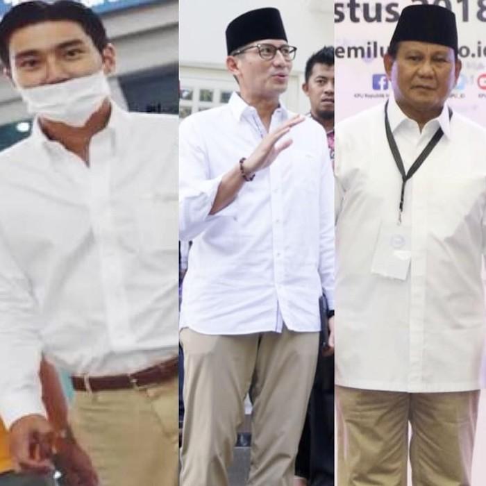 Sandiaga mengunggah kolase foto dirinya bersama Prabowo Subianto dan Choi Siwon. Menurutnya gaya mereka bertiga mirip dengan kemeja putih dipadukan dengan celana warna khaki. (Foto: Instagram/sandiuno)