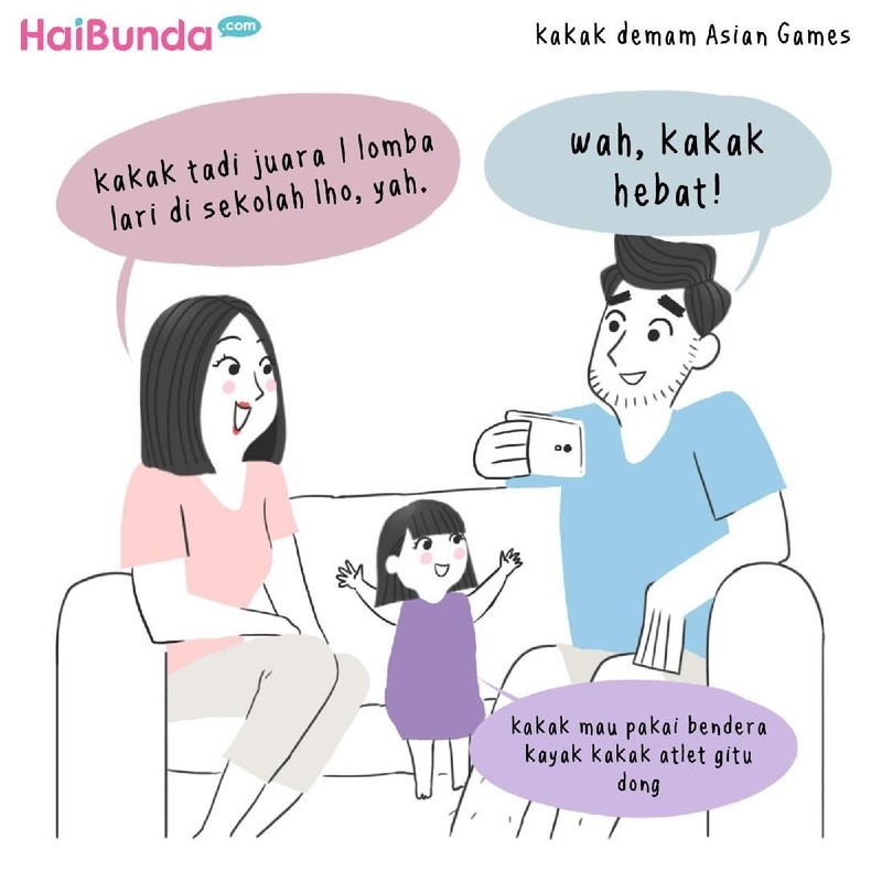 Keluarga bunda di komik ini demam Asian Games 2018 lho. Apakah keluarga Bunda juga mengalaminya? Share yuk di kolom komentar.