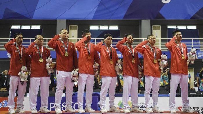Tim sepak takraw nomor kuadran putra menyumbang emas untuk Indonesia di Asian Games 2018 (Foto: ANTARA FOTO/INASGOC/Nova Wahyudi/nz/18)