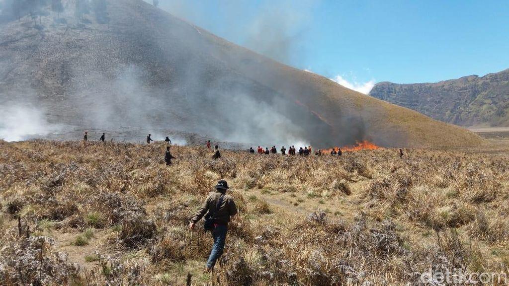 Kebakaran Savana Gunung Bromo Belum Teratasi