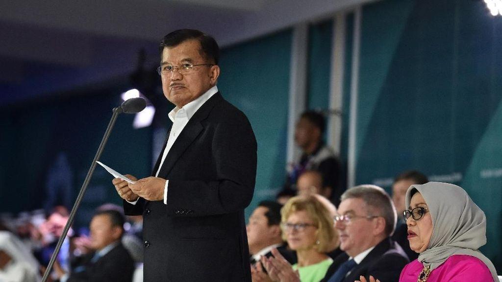 Foto: Ekspresi JK Saat Pidato di Penutupan Asian Games 2018