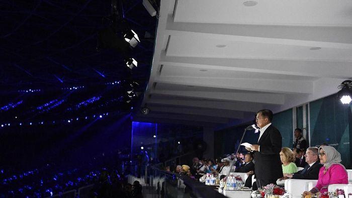 Wapres RI Jusuf Kalla saat berpidato di penutupan Asian Games 2018 (ANTARA FOTO/INASGOC/Puspa Perwitasari