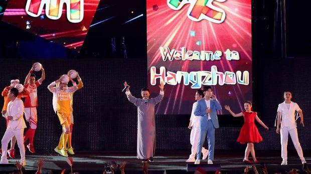Jack Ma saat memberikan sambutan di upacara penutupan Asian Games 2018. (