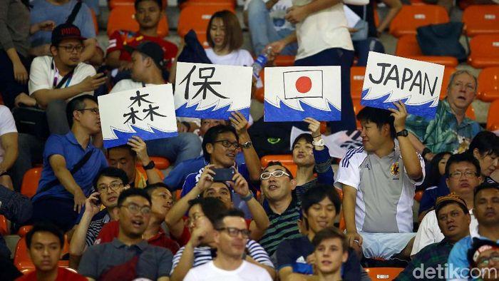 Suporter Jepang ketika menyaksikan event Asian Games 2018 (Grandyos Zafna/detikSport)