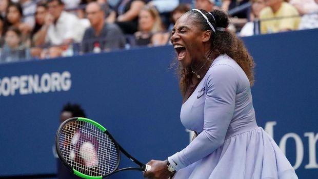 Serena Williams mengalahkan Kaia Kanepi pada babak keempat AS Terbuka 2018.