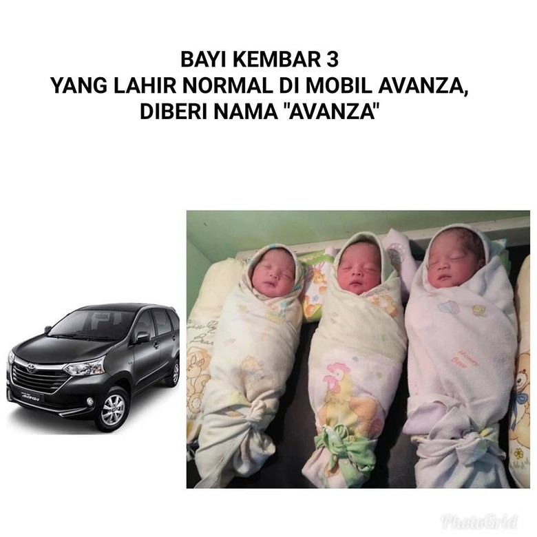 Bayi kembar tiga bernama Avanza. Foto: Istimewa