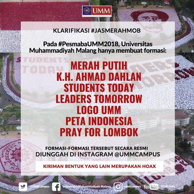 Viral Editan Formasi Maba 2019 Ganti Presiden, UMM Pastikan Hoax