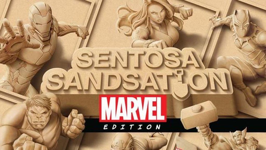 Belasan Patung Pasir Karakter Marvel Sapa Fans di Singapura