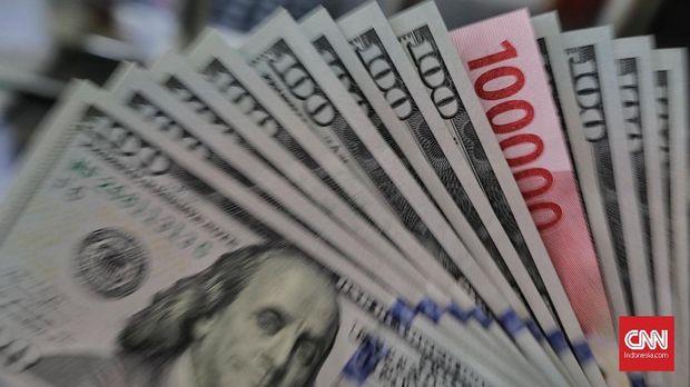 Ilustrasi rupiah dan dolar AS.