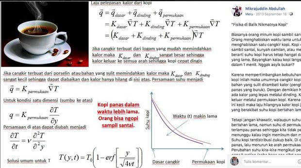 Analisis ilmiah Prof Mikrajuddin Abdullah soal kopi panas yang selalu nikmat.
