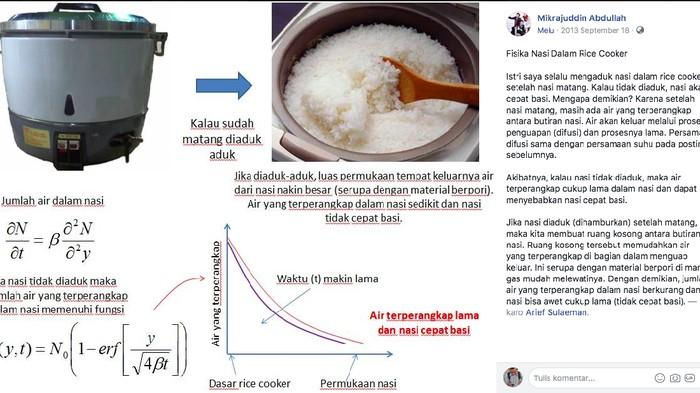 Teori Fisika yang digunakan untuk mencegah nasi menjadi basi. (Foto: FB Prof Mikrajuddin Abdullah)