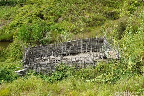 Inilah kandang babi di Pegaf. Kalau babi betina muda lebih mahal karena bisa beranak-pinak. Akan dihitung kelipatannya dikira-kira bisa beranak sampai berapa ekor dalam 10 kelahiran (Masaul/detikTravel)