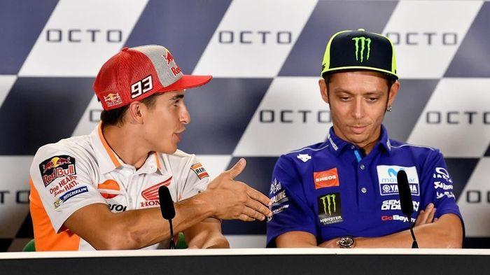 Marc Marquez disebut sebagai lawan yang paling menjengkelkan untuk Valentino Rossi. (Foto: Instagram @motogp)