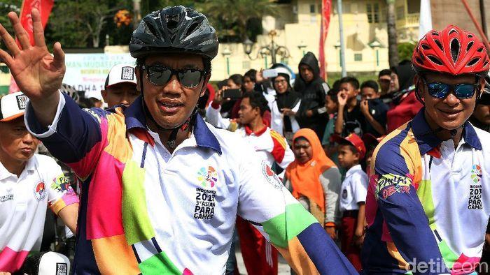 Mempora Imam Nahrawi di sosialisasi Asian Para Games 2018. (Foto: Rengga Sancaya/detikcom)