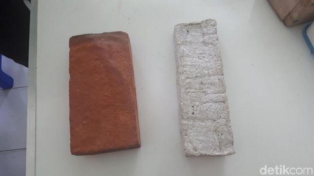Batu bata tanah liat dan batu bata cangkang simping