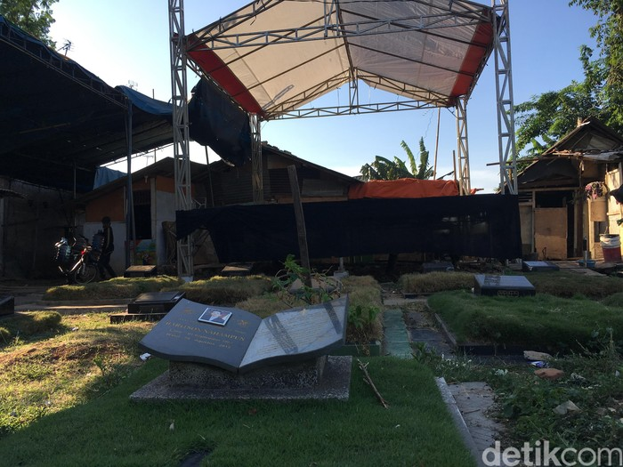 Lokasi viral dangdutan mepet area kuburan (Foto: Arief Ikhsanudin/detikcom)