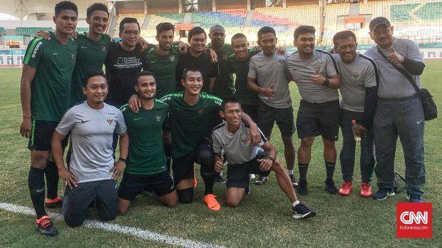 Timnas Indonesia saat melakukan persiapan jelang menghadapi Mauritius. (