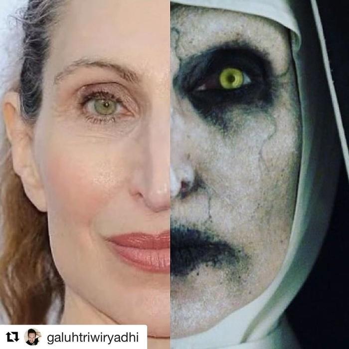 Bonnie Aarons adalah aktris Amerika yang dipercaya memerankan sosok valak dalam film The Nun. Saat menjadi valak, ia terlihat sangat seram tapi saat kumpul dan makan-makan, ia sering melempar senyum. Foto: Instagram @bonnieaarons1