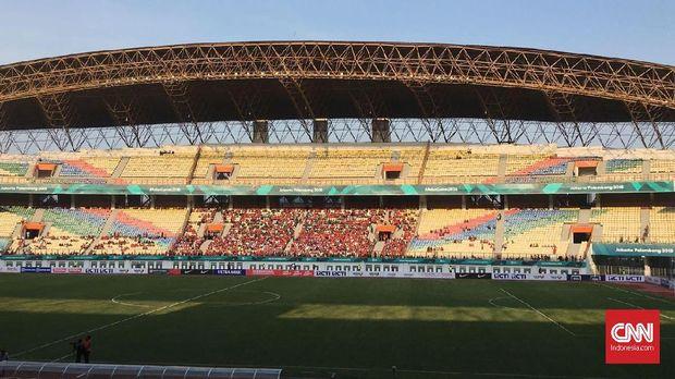 Suasana di Stadion Wibawa Mukti Cikarang pada laga Timnas Indonesia vs Mauritius. (