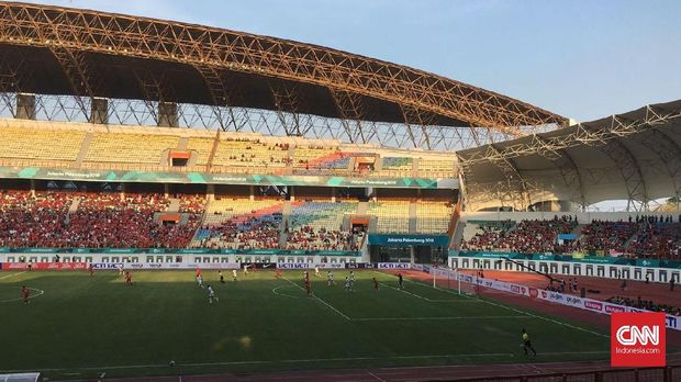 Suasana laga Timnas Indonesia vs Mauritius di Stadion Wibawa Mukti Cikarang. (