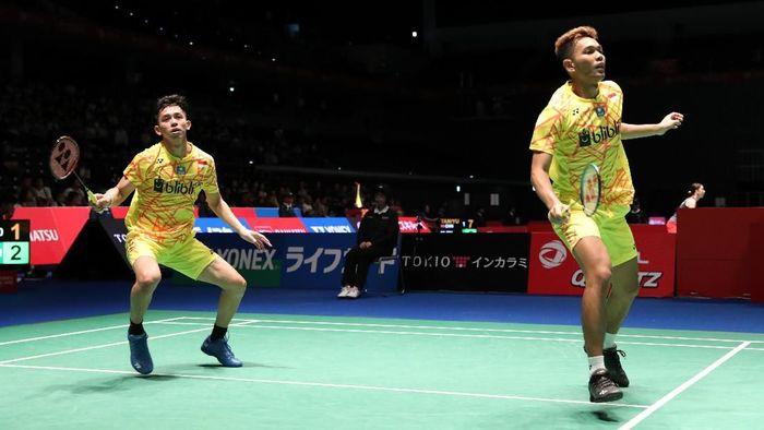 Fajar Alfian/Muhammad Rian Ardianto melaju ke babak kedua Jepang Terbuka 2018. (Humas PBSI)