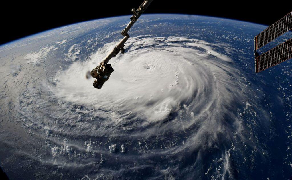 Badai Florence terlihat di atas Samudera Atlantik, sekitar 750 mil tenggara Bermuda.Foto: NASA Handout via Reuters