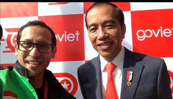 Jokowi todong Nadiem Makarim. Foto: Adi Fida Rahman/detikinet