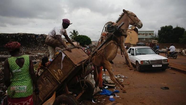Petugas sampah dan gerobak keledai di Mali (Luc Gnago/Reuters)