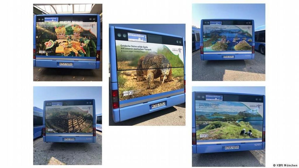 Bus Iklan Wisata Indonesia Berseliweran di Munchen Jerman