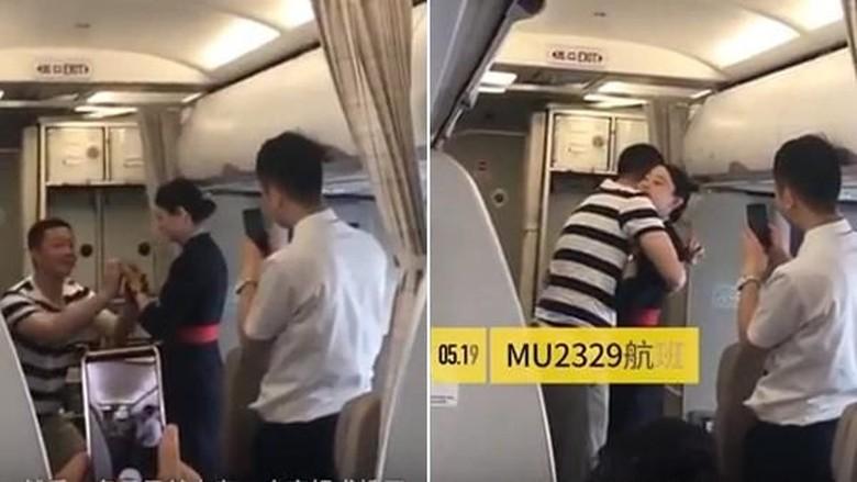 Pramugari yang dilamar kekasihnya di pesawat (Youtube/PearVideo)