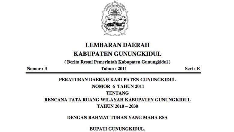 Foto: Perda RTRW Gunungkidul (dok Pemkab Gunungkidul)