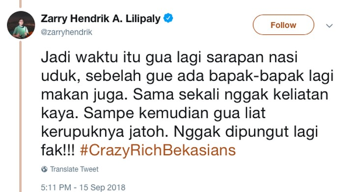 Salah satu lelucon Crazy Rich Bekasians (Foto: twitter)