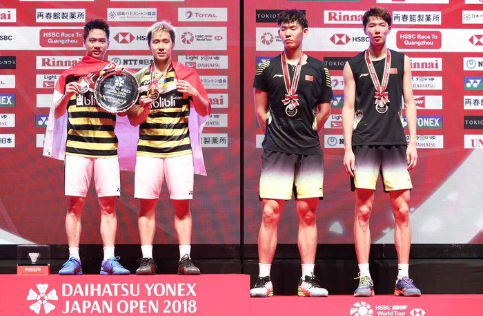 Kevin/Marcus menjadi juara setelah mengalahkan Li Junhui/Liu Yuchen. Istimewa/Humas PBSI.