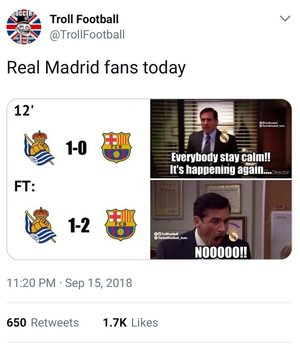 Barcelona main lebih dulu dibandingkan Madrid dan awalnya sempat ketinggalan atas Real Sociedad sebelum berbalik menang 2-1. (Foto: Twitter)
