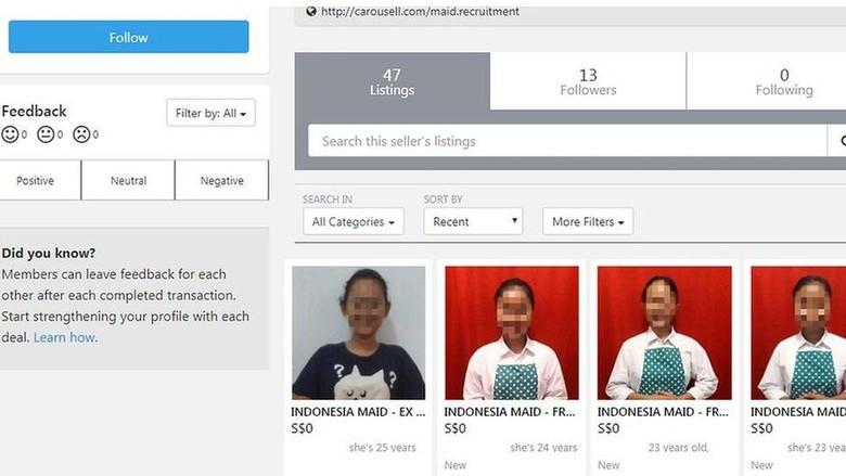 Singapura Selidiki Penjualan Sejumlah PRT Indonesia di Situs Niaga