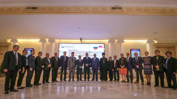 Delegasi Indonesia dan Rusia pada Dialog Lintas Agama dan Lintas Media Indonesia-Rusia di Moskow, 14 September 2018.
