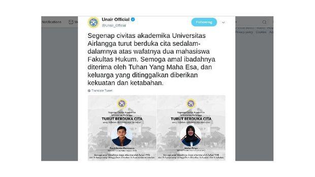 Dua Mahasiswa Tewas di Malang, Unair: Kegiatan Tanpa Sepengetahuan Kampus