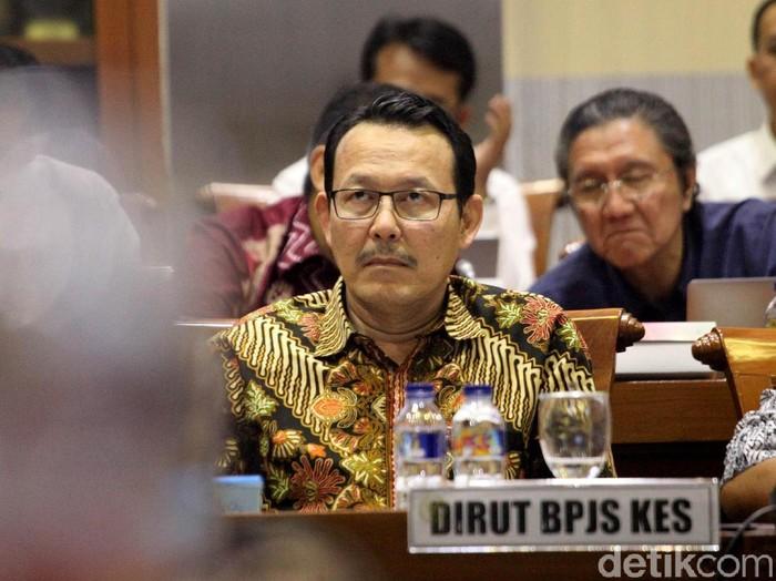 Dirut BPJS Kesehatan, Fahmi Idris dalam rapat dengar pendapat di DPR hari ini (Foto: Lamhot Aritonang)