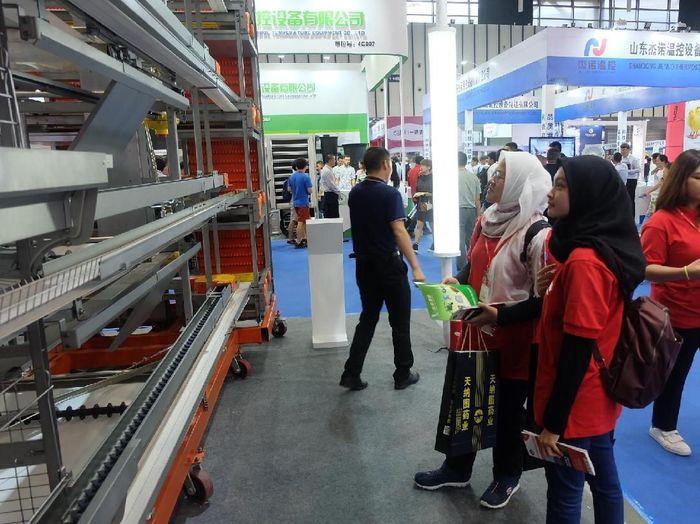 Mahasiswa Indonesia melihat kecanggihan teknologi peternakan di pameran VIV China 2018/Foto: Raras Prawitaningrum/detikcom
