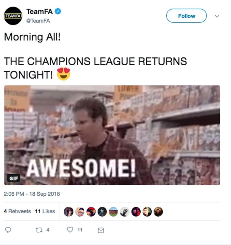 Sudah tak sabar nonton Liga Champions lagi? Sama seperti antusiasnya meme dari Will Ferrell ini. (Foto: Twitter)