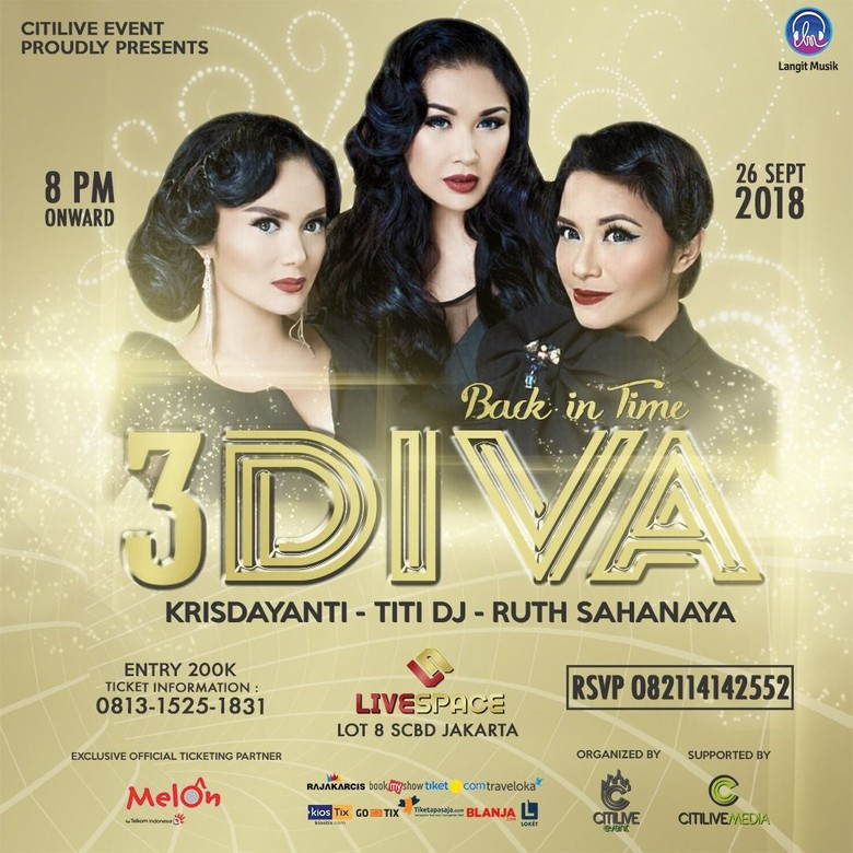 3 Diva Ajak Nostalgia di Konser Back In Time 26 September
