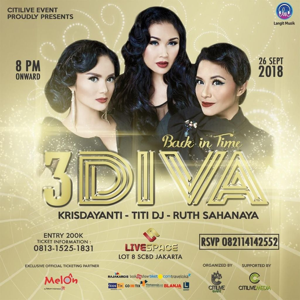 3 Diva Ajak Nostalgia di Konser Back In Time 26 September