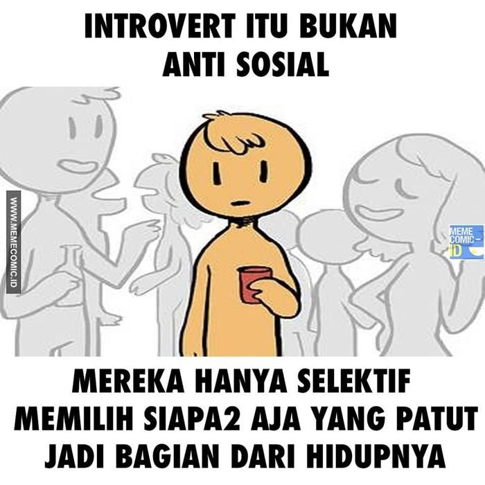 Ramai cuitan ku kira aku introvert di Twitter nih, kamu salah satu yang ikutan berbagi cuitan tersebut enggak di timeline? (Foto: Facebook/Meme Comic ID)