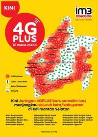 Persebaran jaringan 4G Plus Indosat Ooredoo di wilayah Kalimantan Selatan.