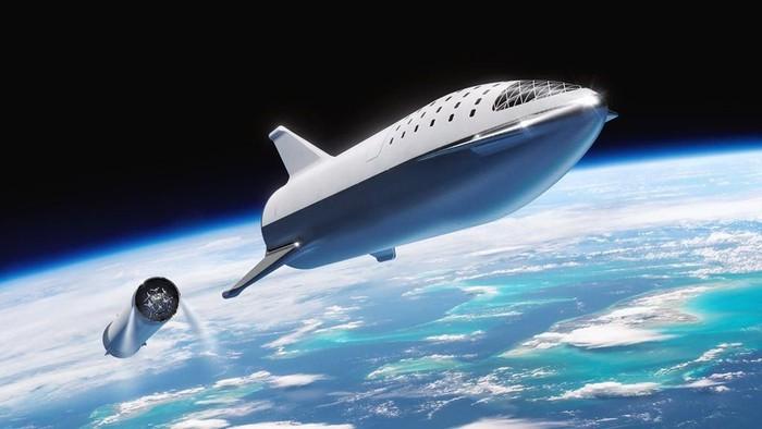 Potret BFR, calon roket terkuat sejagat milik SpaceX, yang kini berganti nama menjadi Starship. Foto: Twitter/SpaceX
