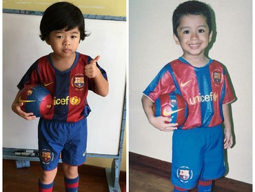 Gimana penampilanku dengan jersey Barca? Tambah kece kan, Bun? (Foto: Instagram/nornizarsharon)