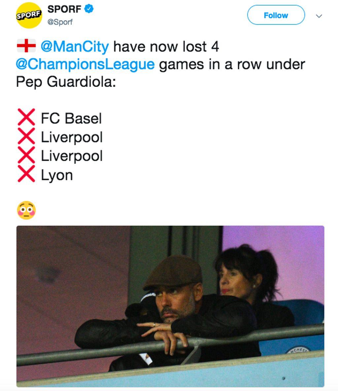 Sudah 4 kali berturut-turut City kalah di Liga Champions. Foto: Twitter