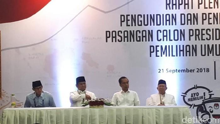 Penetapan nomor urut capres malam ini diiringi munculnya #IndonesiaMaju jadi trending topic Twitter (Foto: Andhika Prasetia/ detikcom)